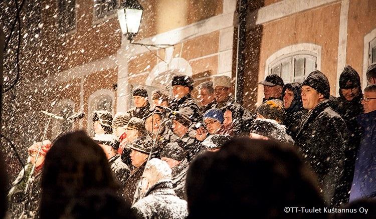 Runebergskören Porvoo joulurauhanjulistuksessa