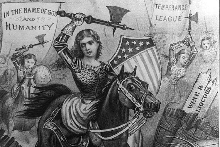 Woman´s Holy War An allegorical 1874 political cartoon print Curier & Ives