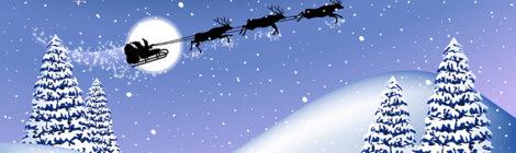 Joulupukin reki taivaalla